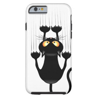 Funny Black Cat Cartoon Scratching Wall Tough iPhone 6 Case