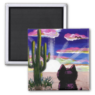 Funny Black Cat Desert Sunset Magnet Creationarts
