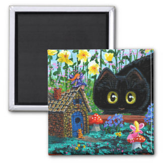 Funny Black Cat Fairy Garden Creationarts Magnet