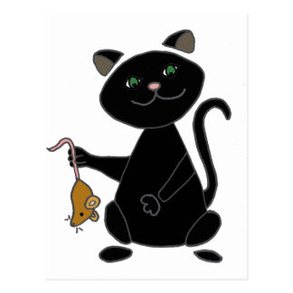 Funny Black Cat Holding Brown Mouse Postcard