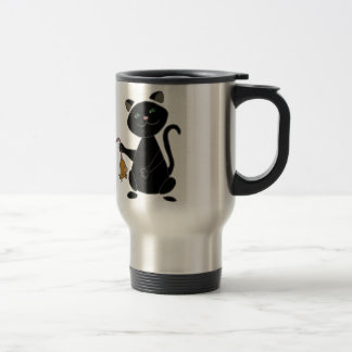Funny Black Cat Holding Brown Mouse Travel Mug