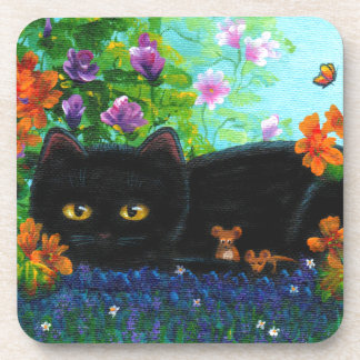 Funny Black Cat Mice Flowers Creationarts Coaster