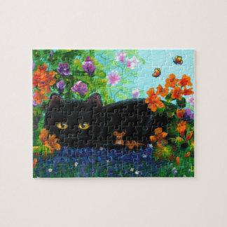 Funny Black Cat Mice Flowers Creationarts Jigsaw Puzzle