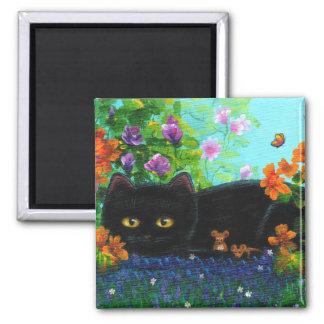 Funny Black Cat Mice Flowers Creationarts Magnet