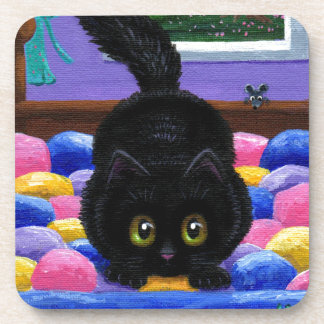 Funny Black Cat Mouse Bed Creationarts Coaster