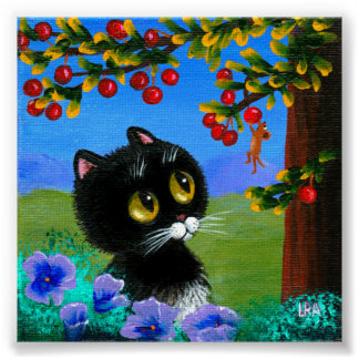 Funny Black Cat Mouse Cherries Creationarts Poster