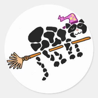 Funny Black Cat on Magical Broom Art Round Sticker