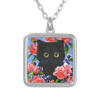 Funny Black Cat Red Roses Flowers Silver Plated Necklace