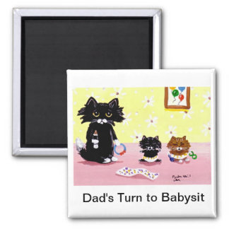 Funny Black Cat Tabby Art Magnet Creationarts