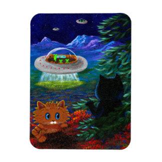 Funny Black Cat UFO Tabby Cat Flying Saucer Rectangular Photo Magnet