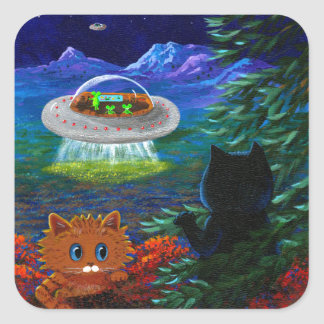 Funny Black Cat UFO Tabby Cat Flying Saucer Square Sticker
