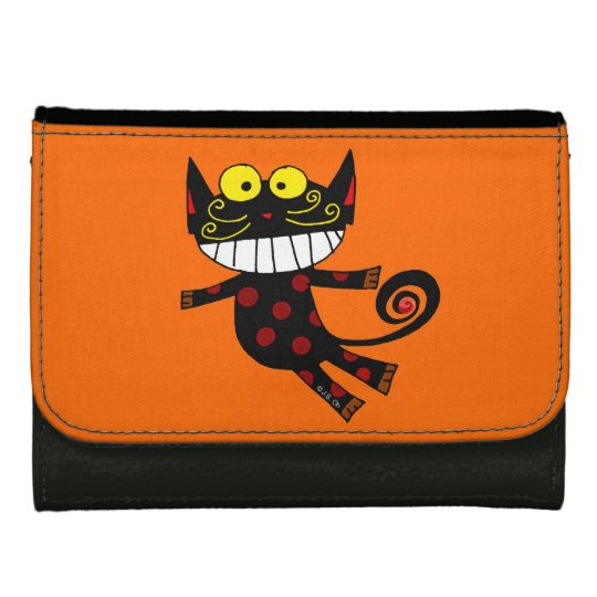 funny black cat wallet