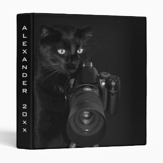 Funny Black Cat with the Camera Binders