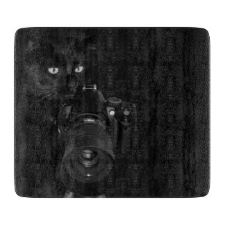 Funny Black Cat with the Camera Cutting Board