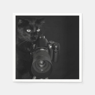 Funny Black Cat with the Camera Paper Napkin