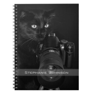 Funny Black Cat with the Camera Spiral Notebook