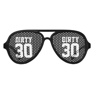 Funny black Dirty 30 thirty Birthday party shades