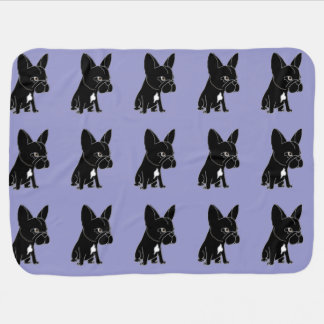 Funny Black French Bulldog Puppy Dog Baby Blanket