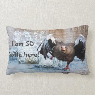 Funny Black Goose Photo Running Away on Water Lumbar Pillow