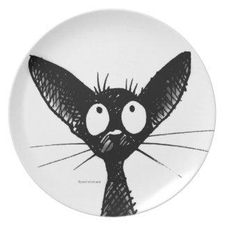 Funny Black Gothic Oriental Cat Dinner Plates