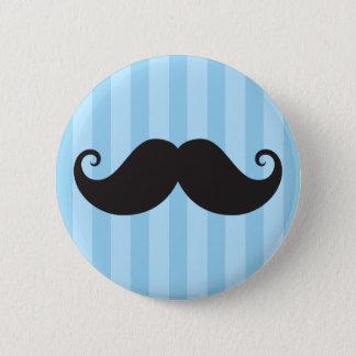 Funny black handlebar mustache moustache blue 2 inch round button