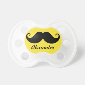 Funny black handlebar mustache stache personalized baby pacifiers