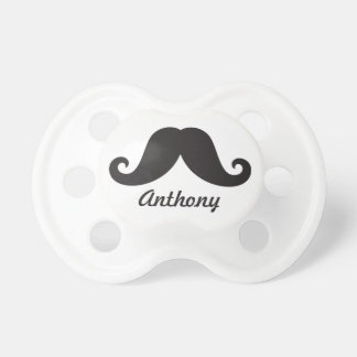 Funny black handlebar mustache stache personalized pacifiers