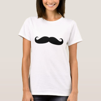 Funny black handlebar mustache t shirt for women