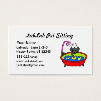 Funny Black Lab Cartoon Pet Sitting Business Card