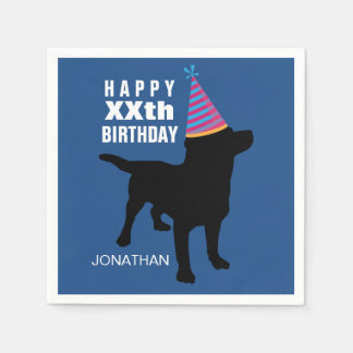 Funny Black Lab Dog Birthday Hat Your Age Name Paper Napkin