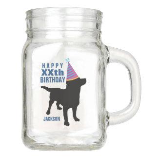 Funny Black Lab Dog Custom Birthday Age and Name Mason Jar