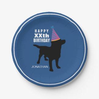 Funny Black Lab Dog Custom Birthday Paper Plate