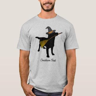 Funny Black Lab Dog Halloween Witch Hat Custom T-Shirt