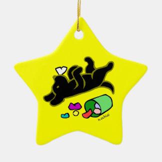 Funny Black Labrador Cartoon Ornament