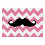 Funny Black Moustache And Pink Chevron Pattern Greeting Card
