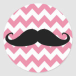 Funny Black Moustache And Pink Chevron Pattern Round Sticker