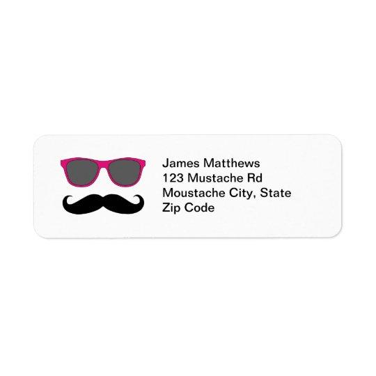 Funny Black Moustache and Sunglasses Return Return Address Label