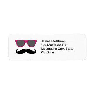 Funny Black Mustache and Sunglasses Return Address Custom Return Address Labels