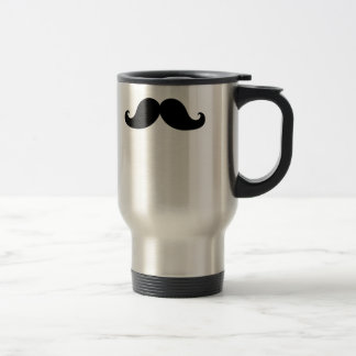 Funny Black Mustache Humor Travel Mug