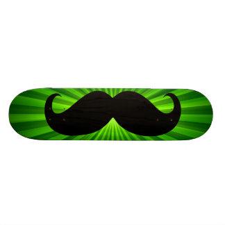 Funny black mustache on green background 2 skate deck