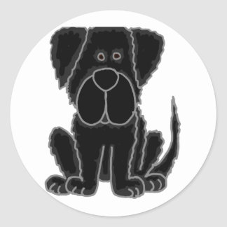Funny Black Newfoundland Puppy Dog Art Classic Round Sticker