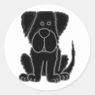Funny Black Newfoundland Puppy Dog Art Round Sticker