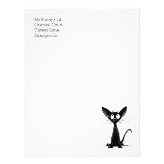 Funny Black Oriental Shorthair Cat Letterhead