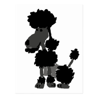 Funny Black Poodle Art Original Postcard