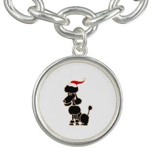 Funny Black Poodle in Santa Hat Christmas Art Bracelet