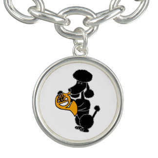 Funny Black Poodle Playing French Horn Charm Bracelets