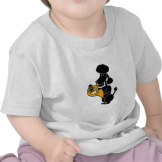 Funny Black Poodle Playing French Horn T Shirts