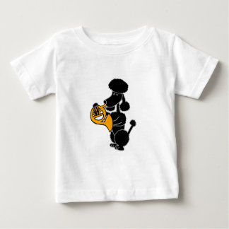 Funny Black Poodle Playing French Horn Tee Shirt