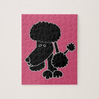 Funny Black Poodle Puppy Dog Cartoon Jigsaw Puzzle