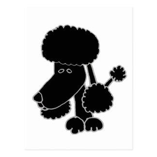 Funny Black Poodle Puppy Dog Cartoon Postcard